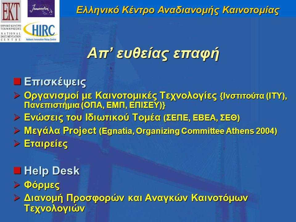 Ελληνικό Κέντρο Αναδιανομής Καινοτομίας Επισκέψεις Επισκέψεις  Οργανισμοί με Καινοτομικές Τεχνολογίες {Ινστιτούτα (ITY), Πανεπιστήμια (ΟΠΑ, ΕΜΠ, ΕΠΙΣΕΥ)}  Ενώσεις του Ιδιωτικού Τομέα (ΣΕΠΕ, ΕΒΕΑ, ΣΕΘ)  Μεγάλα Project (Egnatia, Organizing Committee Athens 2004)  Εταιρείες Help Desk Help Desk  Φόρμες  Διανομή Προσφορών και Αναγκών Καινοτόμων Τεχνολογιών Απ' ευθείας επαφή