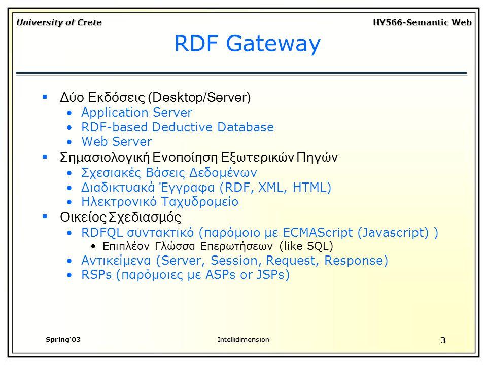 University of Crete HY566-Semantic Web Spring'03Intellidimension 3 RDF Gateway  Δύο Εκδόσεις (Desktop/Server) Application Server RDF-based Deductive Database Web Server  Σημασιολογική Ενοποίηση Εξωτερικών Πηγών Σχεσιακές Βάσεις Δεδομένων Διαδικτυακά Έγγραφα (RDF, XML, HTML) Ηλεκτρονικό Ταχυδρομείο  Οικείος Σχεδιασμός RDFQL συντακτικό (παρόμοιο με ECMAScript (Javascript) ) Επιπλέον Γλώσσα Επερωτήσεων (like SQL) Αντικείμενα (Server, Session, Request, Response) RSPs (παρόμοιες με ASPs or JSPs)