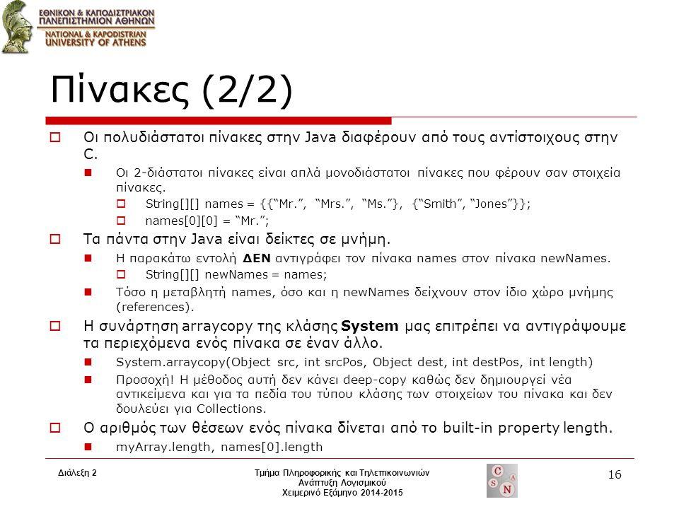 Διάλεξη 2Τμήμα Πληροφορικής και Τηλεπικοινωνιών Ανάπτυξη Λογισμικού Χειμερινό Εξάμηνο 2014-2015 16 Πίνακες (2/2)  Οι πολυδιάστατοι πίνακες στην Java