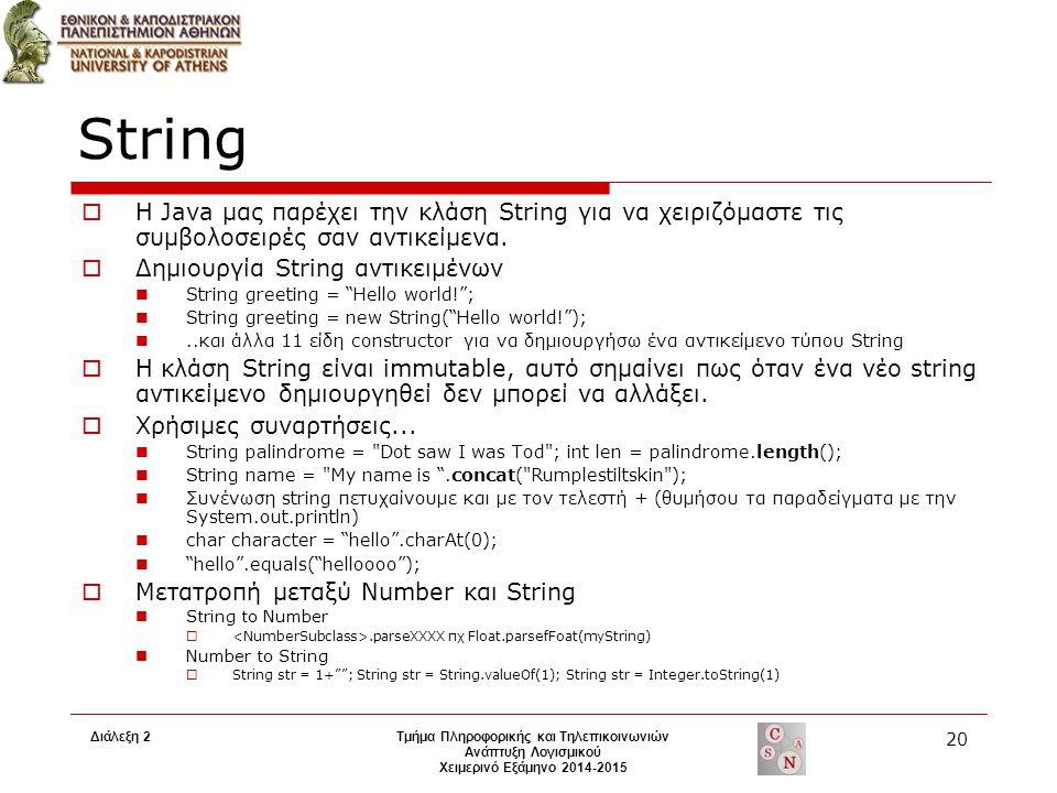 Διάλεξη 2Τμήμα Πληροφορικής και Τηλεπικοινωνιών Ανάπτυξη Λογισμικού Χειμερινό Εξάμηνο 2014-2015 20 String  H Java μας παρέχει την κλάση String για να