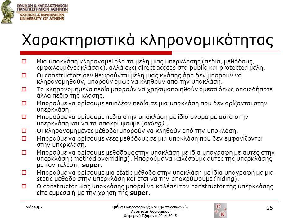 Διάλεξη 2Τμήμα Πληροφορικής και Τηλεπικοινωνιών Ανάπτυξη Λογισμικού Χειμερινό Εξάμηνο 2014-2015 25 Χαρακτηριστικά κληρονομικότητας  Μια υποκλάση κληρ