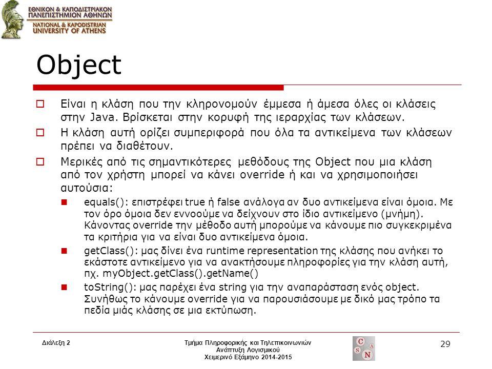 Διάλεξη 2Τμήμα Πληροφορικής και Τηλεπικοινωνιών Ανάπτυξη Λογισμικού Χειμερινό Εξάμηνο 2014-2015 29 Object  Είναι η κλάση που την κληρονομούν έμμεσα ή