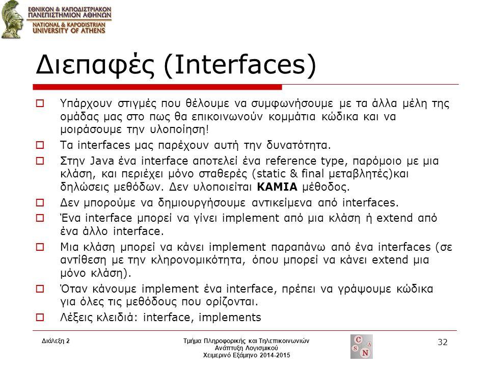 Διάλεξη 2Τμήμα Πληροφορικής και Τηλεπικοινωνιών Ανάπτυξη Λογισμικού Χειμερινό Εξάμηνο 2014-2015 32 Διεπαφές (Interfaces)  Υπάρχουν στιγμές που θέλουμ