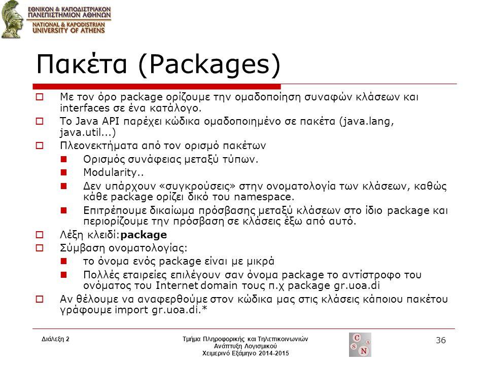 Διάλεξη 2Τμήμα Πληροφορικής και Τηλεπικοινωνιών Ανάπτυξη Λογισμικού Χειμερινό Εξάμηνο 2014-2015 36 Πακέτα (Packages)  Με τον όρο package ορίζουμε την