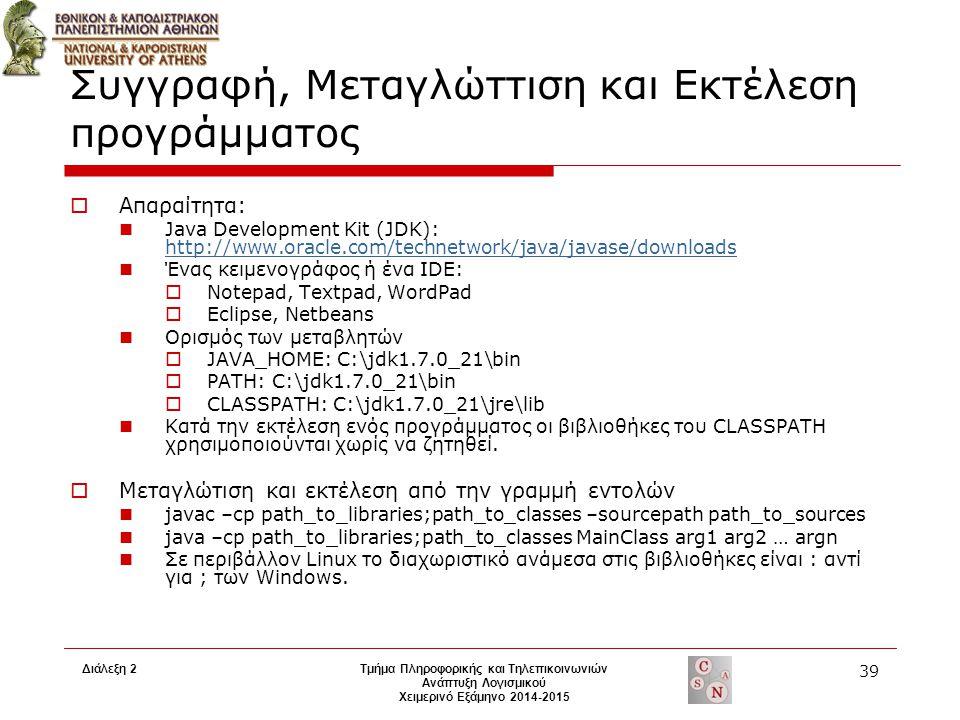 Διάλεξη 2Τμήμα Πληροφορικής και Τηλεπικοινωνιών Ανάπτυξη Λογισμικού Χειμερινό Εξάμηνο 2014-2015 39 Συγγραφή, Μεταγλώττιση και Εκτέλεση προγράμματος 