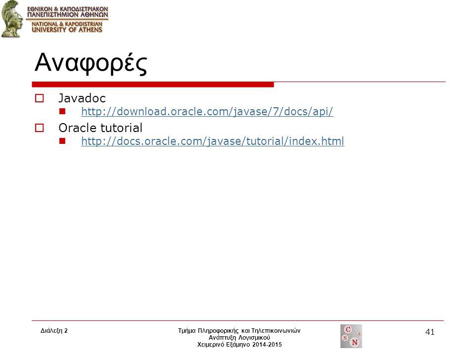 Διάλεξη 2Τμήμα Πληροφορικής και Τηλεπικοινωνιών Ανάπτυξη Λογισμικού Χειμερινό Εξάμηνο 2014-2015 41 Αναφορές  Javadoc http://download.oracle.com/javas
