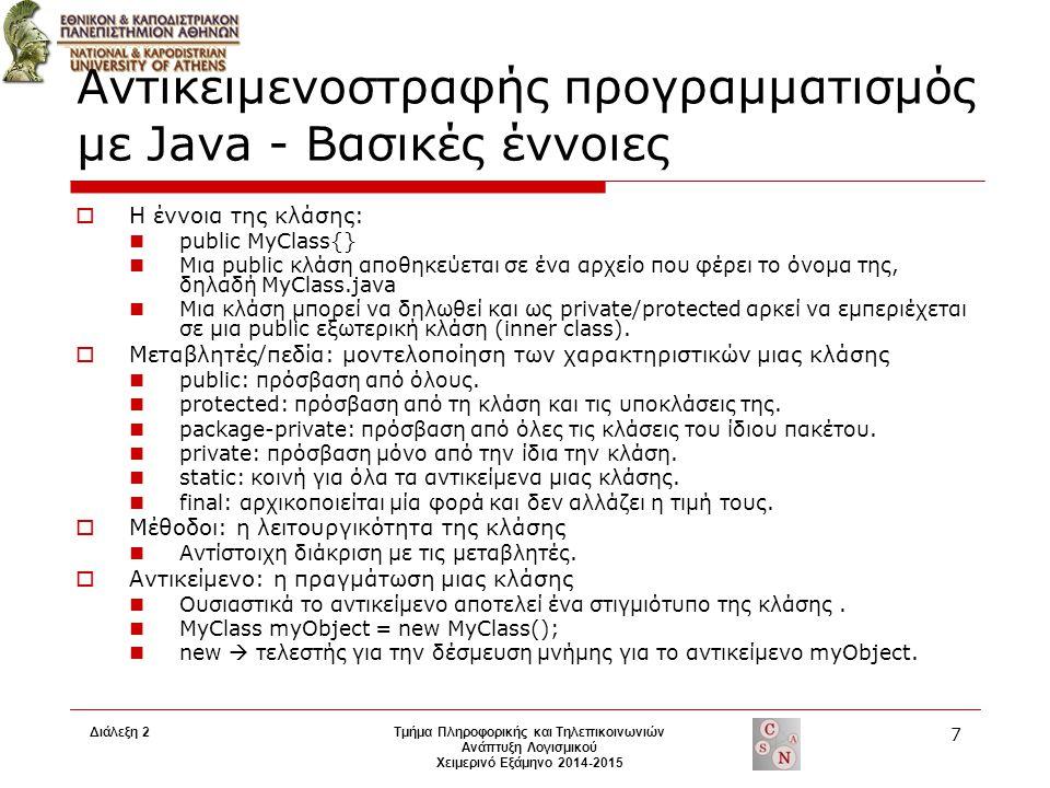 Διάλεξη 2Τμήμα Πληροφορικής και Τηλεπικοινωνιών Ανάπτυξη Λογισμικού Χειμερινό Εξάμηνο 2014-2015 7 Αντικειμενοστραφής προγραμματισμός με Java - Βασικές