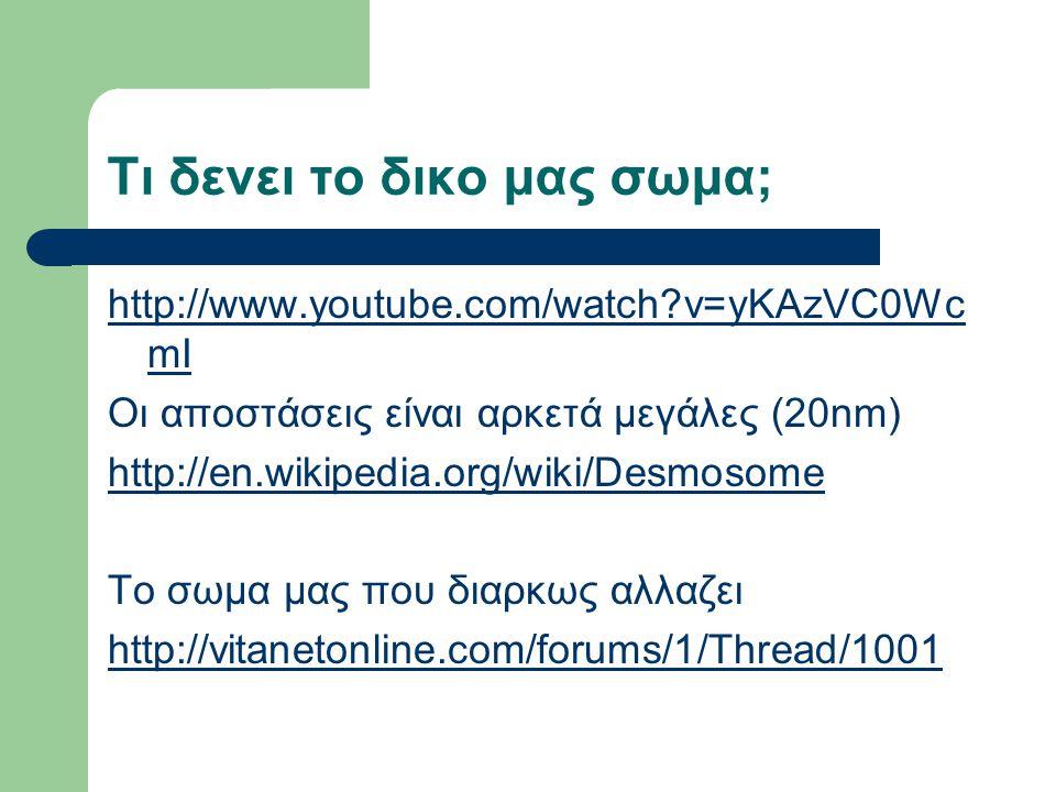 Τι δενει το δικο μας σωμα; http://www.youtube.com/watch v=yKAzVC0Wc mI Οι αποστάσεις είναι αρκετά μεγάλες (20nm) http://en.wikipedia.org/wiki/Desmosome Το σωμα μας που διαρκως αλλαζει http://vitanetonline.com/forums/1/Thread/1001