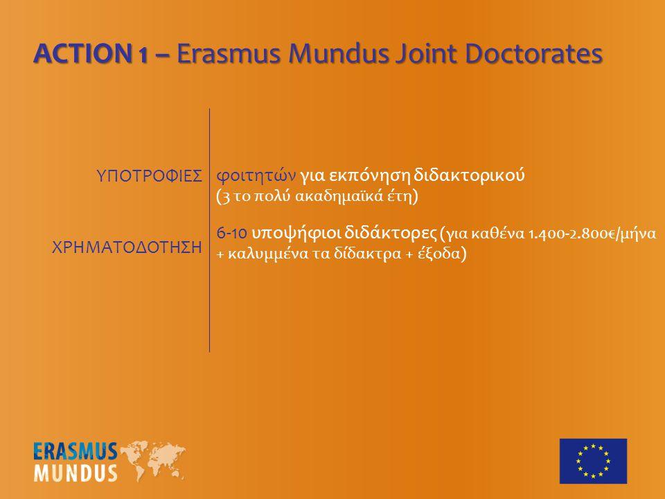 ΥΠΟΤΡΟΦΙΕΣ ACTION 1 – Erasmus Mundus Joint Doctorates 6-10 υποψήφιοι διδάκτορες (για καθένα 1.400-2.800€/μήνα + καλυμμένα τα δίδακτρα + έξοδα) φοιτητών για εκπόνηση διδακτορικού (3 το πολύ ακαδημαϊκά έτη) ΧΡΗΜΑΤΟΔΟΤΗΣΗ