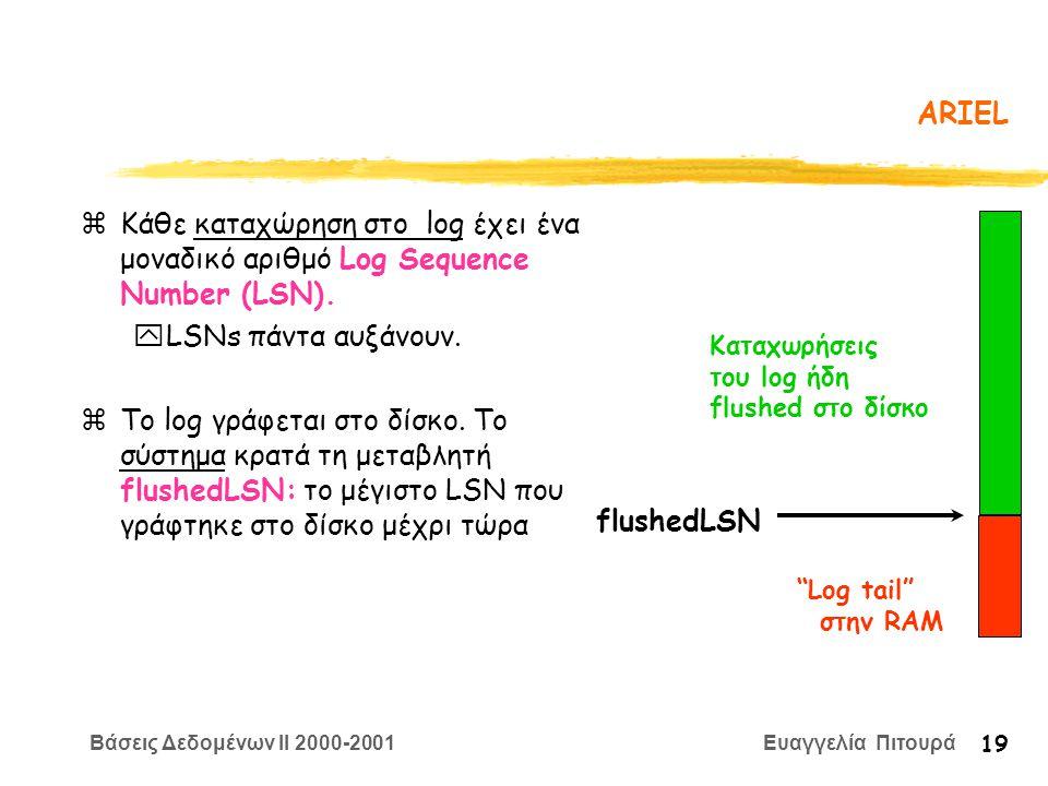 Βάσεις Δεδομένων II 2000-2001 Ευαγγελία Πιτουρά 19 ARIEL zΚάθε καταχώρηση στο log έχει ένα μοναδικό αριθμό Log Sequence Number (LSN). yLSNs πάντα αυξά