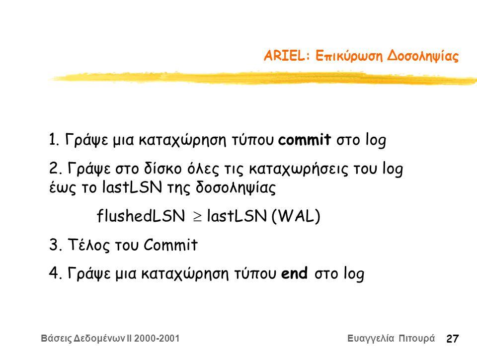 Βάσεις Δεδομένων II 2000-2001 Ευαγγελία Πιτουρά 27 ARIEL: Επικύρωση Δοσοληψίας 1. Γράψε μια καταχώρηση τύπου commit στο log 2. Γράψε στο δίσκο όλες τι