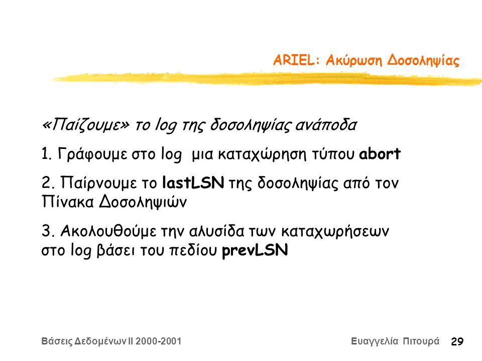 Βάσεις Δεδομένων II 2000-2001 Ευαγγελία Πιτουρά 29 ARIEL: Aκύρωση Δοσοληψίας «Παίζουμε» το log της δοσοληψίας ανάποδα 1. Γράφουμε στο log μια καταχώρη
