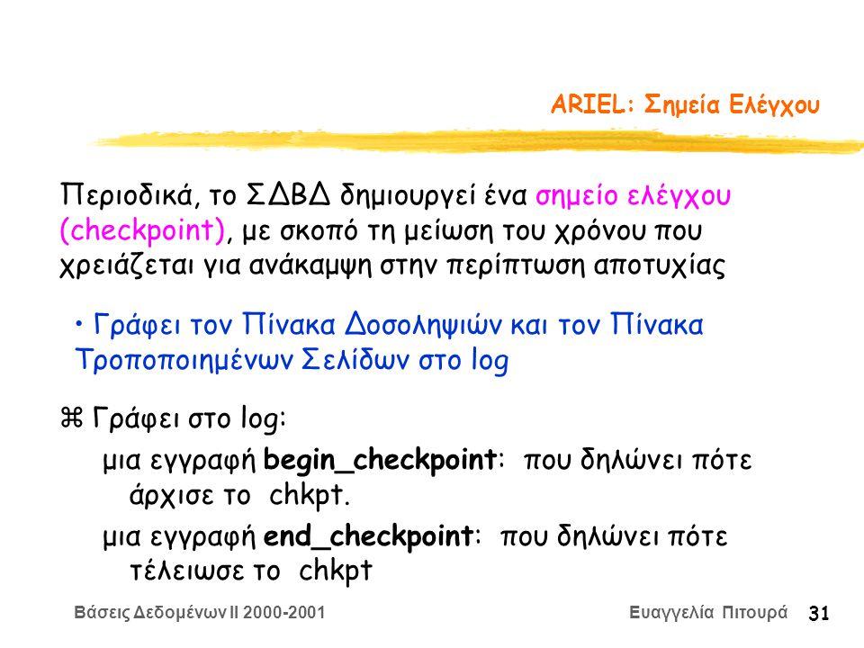 Βάσεις Δεδομένων II 2000-2001 Ευαγγελία Πιτουρά 31 ARIEL: Σημεία Ελέγχου zΓράφει στο log: μια εγγραφή begin_checkpoint: που δηλώνει πότε άρχισε το chkpt.