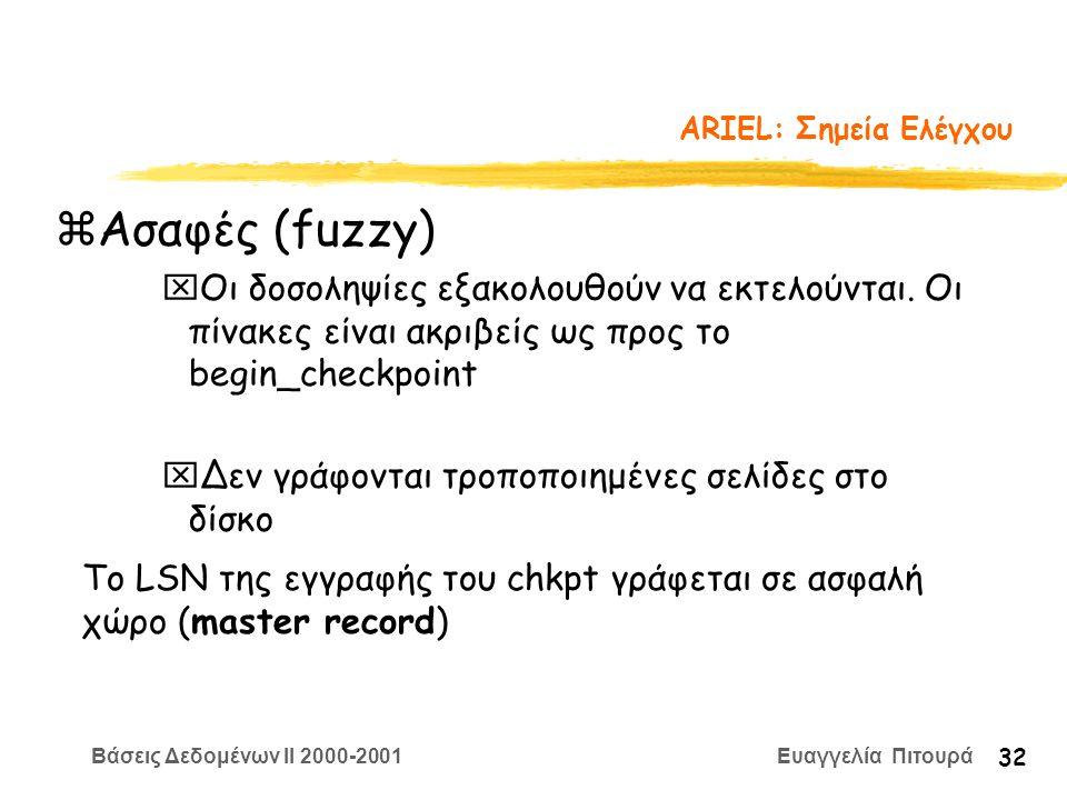 Βάσεις Δεδομένων II 2000-2001 Ευαγγελία Πιτουρά 32 ARIEL: Σημεία Ελέγχου zΑσαφές (fuzzy) xΟι δοσοληψίες εξακολουθούν να εκτελούνται. Οι πίνακες είναι