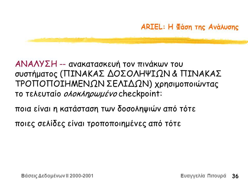 Βάσεις Δεδομένων II 2000-2001 Ευαγγελία Πιτουρά 36 ARIEL: Η Φάση της Ανάλυσης ΑΝΑΛΥΣΗ -- ανακατασκευή τον πινάκων του συστήματος (ΠΙΝΑΚΑΣ ΔΟΣΟΛΗΨΙΩΝ & ΠΙΝΑΚΑΣ ΤΡΟΠΟΠΟΙΗΜΕΝΩΝ ΣΕΛΙΔΩΝ) χρησιμοποιώντας το τελευταίο ολοκληρωμένο checkpoint: ποια είναι η κατάσταση των δοσοληψιών από τότε ποιες σελίδες είναι τροποποιημένες από τότε