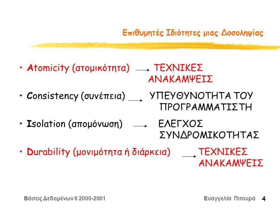 Βάσεις Δεδομένων II 2000-2001 Ευαγγελία Πιτουρά 4 Επιθυμητές Ιδιότητες μιας Δοσοληψίας Αtomicity (ατομικότητα) ΤΕΧΝΙΚΕΣ ΑΝΑΚΑΜΨΕΙΣ Consistency (συνέπεια) ΥΠΕΥΘΥΝΟΤΗΤΑ ΤΟΥ ΠΡΟΓΡΑΜΜΑΤΙΣΤΗ Isolation (απομόνωση) ΕΛΕΓΧΟΣ ΣΥΝΔΡΟΜΙΚΟΤΗΤΑΣ Durability (μονιμότητα ή διάρκεια) ΤΕΧΝΙΚΕΣ ΑΝΑΚΑΜΨΕΙΣ