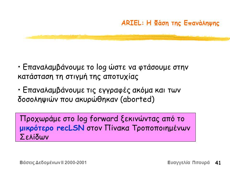 Βάσεις Δεδομένων II 2000-2001 Ευαγγελία Πιτουρά 41 ARIEL: Η Φάση της Επανάληψης Επαναλαμβάνουμε το log ώστε να φτάσουμε στην κατάσταση τη στιγμή της αποτυχίας Επαναλαμβάνουμε τις εγγραφές ακόμα και των δοσοληψιών που ακυρώθηκαν (aborted) Προχωράμε στο log forward ξεκινώντας από το μικρότερο recLSN στον Πίνακα Τροποποιημένων Σελίδων