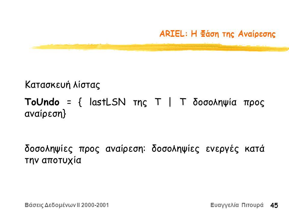 Βάσεις Δεδομένων II 2000-2001 Ευαγγελία Πιτουρά 45 ARIEL: Η Φάση της Αναίρεσης Κατασκευή λίστας ToUndo = { lastLSN της Τ | Τ δοσοληψία προς αναίρεση} δοσοληψίες προς αναίρεση: δοσοληψίες ενεργές κατά την αποτυχία