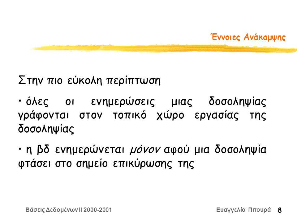Βάσεις Δεδομένων II 2000-2001 Ευαγγελία Πιτουρά 8 Έννοιες Ανάκαμψης Στην πιο εύκολη περίπτωση όλες οι ενημερώσεις μιας δοσοληψίας γράφονται στον τοπικό χώρο εργασίας της δοσοληψίας η βδ ενημερώνεται μόνον αφού μια δοσοληψία φτάσει στο σημείο επικύρωσης της