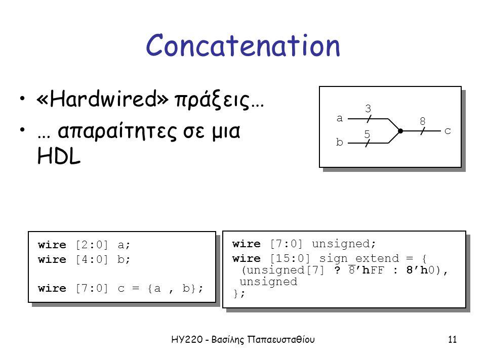 ΗΥ220 - Βασίλης Παπαευσταθίου11 Concatenation «Hardwired» πράξεις… … απαραίτητες σε μια HDL wire [2:0] a; wire [4:0] b; wire [7:0] c = {a, b}; wire [2:0] a; wire [4:0] b; wire [7:0] c = {a, b}; 3 5 8 a b c wire [7:0] unsigned; wire [15:0] sign_extend = { (unsigned[7] .