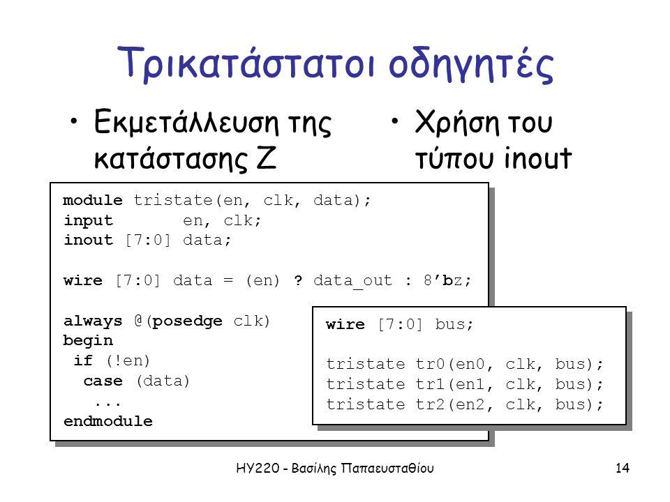 ΗΥ220 - Βασίλης Παπαευσταθίου14 Τρικατάστατοι οδηγητές Εκμετάλλευση της κατάστασης Ζ module tristate(en, clk, data); input en, clk; inout [7:0] data; wire [7:0] data = (en) .