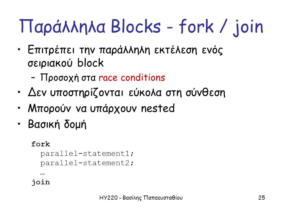ΗΥ220 - Βασίλης Παπαευσταθίου25 Παράλληλα Blocks - fork / join Επιτρέπει την παράλληλη εκτέλεση ενός σειριακού block –Προσοχή στα race conditions Δεν υποστηρίζονται εύκολα στη σύνθεση Μπορούν να υπάρχουν nested Βασική δομή fork parallel-statement1; parallel-statement2; … join