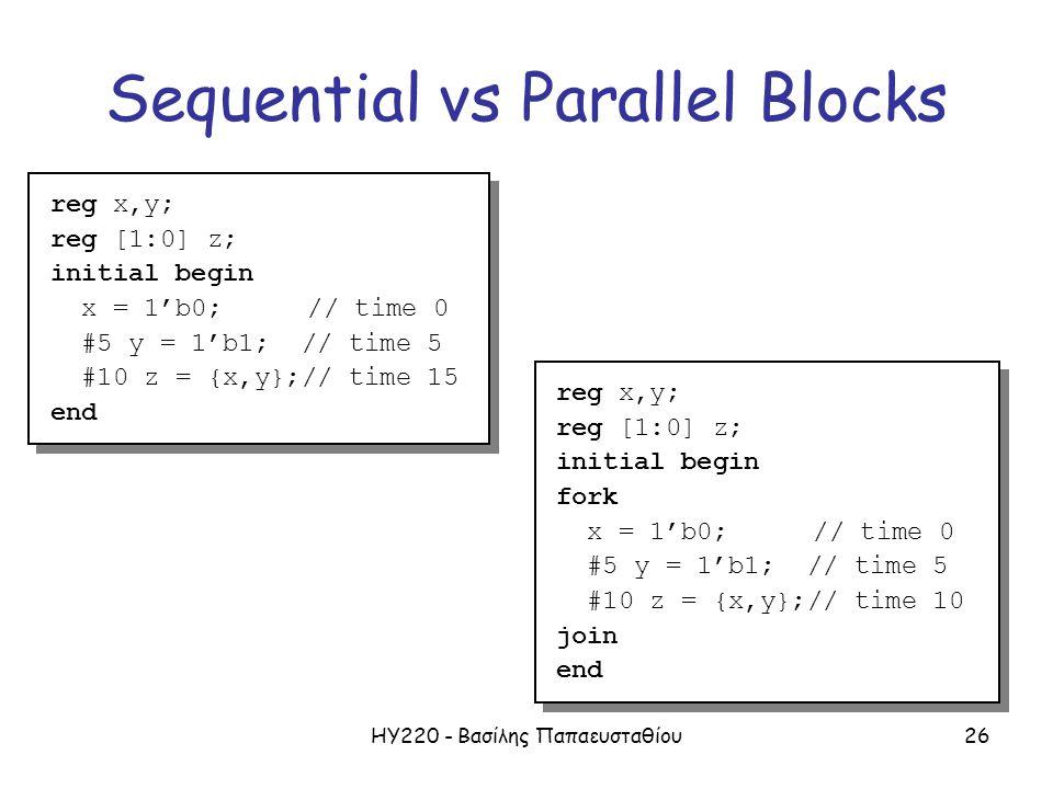 ΗΥ220 - Βασίλης Παπαευσταθίου26 Sequential vs Parallel Blocks reg x,y; reg [1:0] z; initial begin fork x = 1'b0; // time 0 #5 y = 1'b1; // time 5 #10