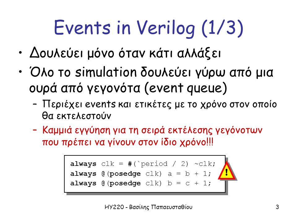 ΗΥ220 - Βασίλης Παπαευσταθίου3 Events in Verilog (1/3) Δουλεύει μόνο όταν κάτι αλλάξει Όλο το simulation δουλεύει γύρω από μια ουρά από γεγονότα (event queue) –Περιέχει events και ετικέτες με το χρόνο στον οποίο θα εκτελεστούν –Καμμιά εγγύηση για τη σειρά εκτέλεσης γεγόνοτων που πρέπει να γίνουν στον ίδιο χρόνο!!.