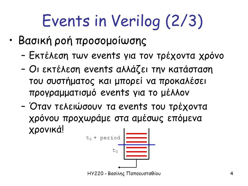 ΗΥ220 - Βασίλης Παπαευσταθίου4 Βασική ροή προσομοίωσης –Εκτέλεση των events για τον τρέχοντα χρόνο –Οι εκτέλεση events αλλάζει την κατάσταση του συστήματος και μπορεί να προκαλέσει προγραμματισμό events για το μέλλον –Όταν τελειώσουν τα events του τρέχοντα χρόνου προχωράμε στα αμέσως επόμενα χρονικά.