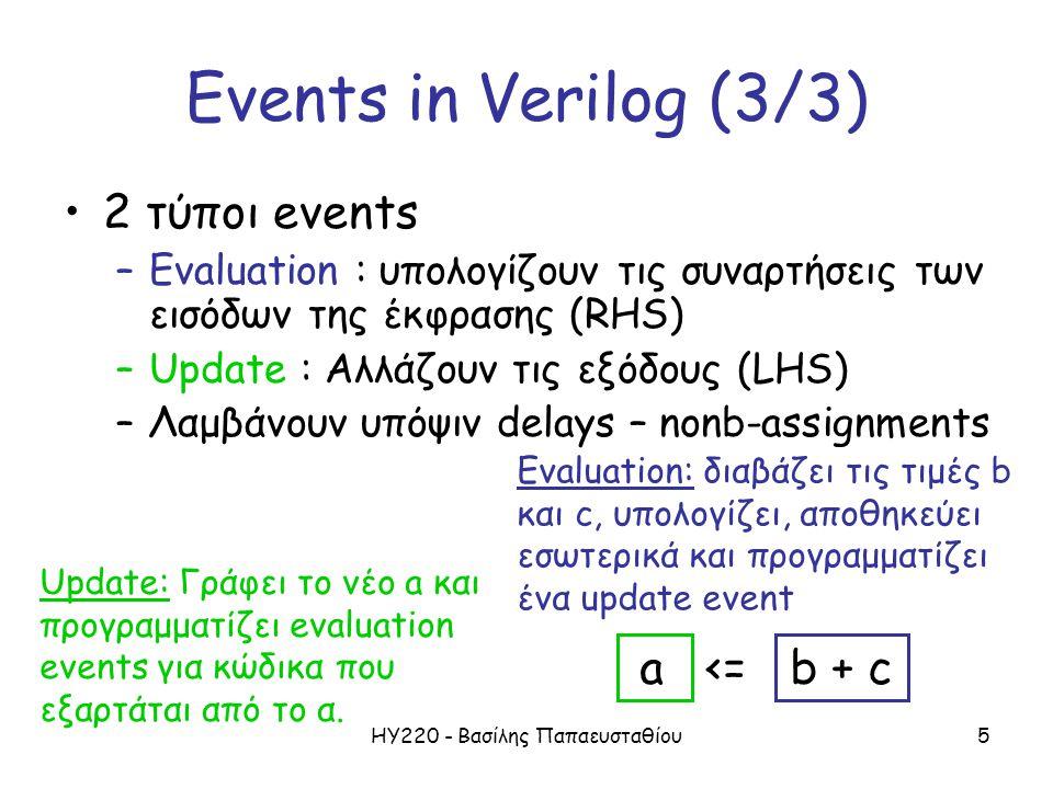 ΗΥ220 - Βασίλης Παπαευσταθίου5 Events in Verilog (3/3) 2 τύποι events –Evaluation : υπολογίζουν τις συναρτήσεις των εισόδων της έκφρασης (RHS) –Update : Αλλάζουν τις εξόδους (LHS) –Λαμβάνουν υπόψιν delays – nonb-assignments Evaluation: διαβάζει τις τιμές b και c, υπολογίζει, αποθηκεύει εσωτερικά και προγραμματίζει ένα update event Update: Γράφει το νέο a και προγραμματίζει evaluation events για κώδικα που εξαρτάται από το α.