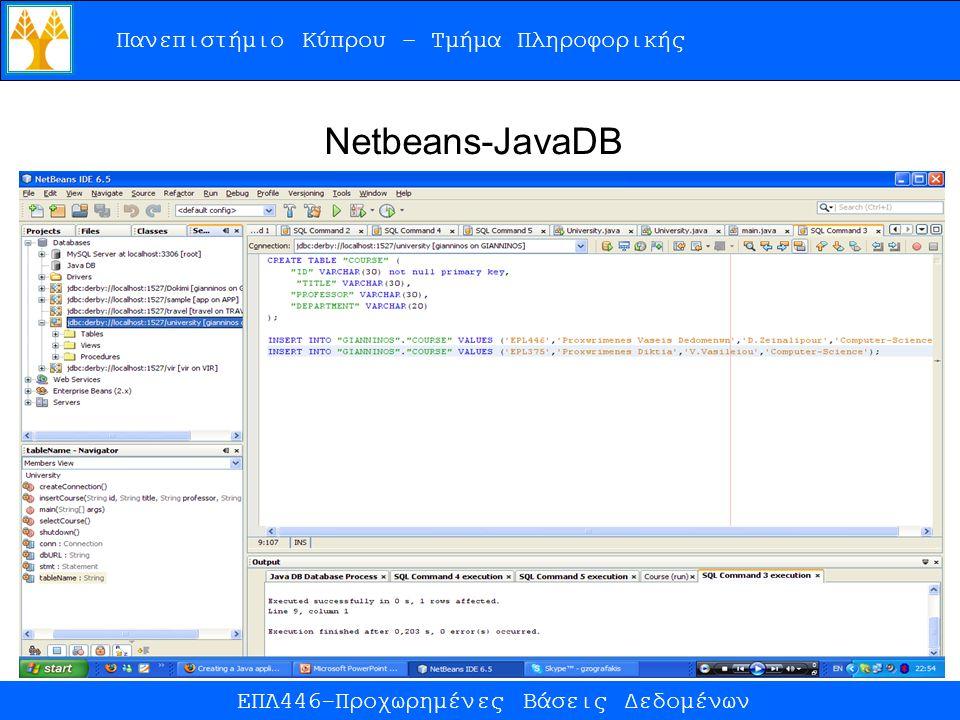 Πανεπιστήμιο Κύπρου – Τμήμα Πληροφορικής ΕΠΛ446-Προχωρημένες Βάσεις Δεδομένων Netbeans-JavaDB