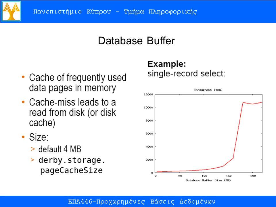 Πανεπιστήμιο Κύπρου – Τμήμα Πληροφορικής ΕΠΛ446-Προχωρημένες Βάσεις Δεδομένων Database Buffer