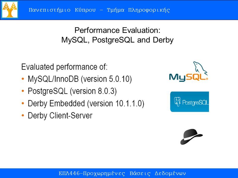 Πανεπιστήμιο Κύπρου – Τμήμα Πληροφορικής ΕΠΛ446-Προχωρημένες Βάσεις Δεδομένων Performance Evaluation: MySQL, PostgreSQL and Derby
