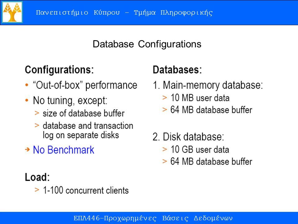 Πανεπιστήμιο Κύπρου – Τμήμα Πληροφορικής ΕΠΛ446-Προχωρημένες Βάσεις Δεδομένων Database Configurations