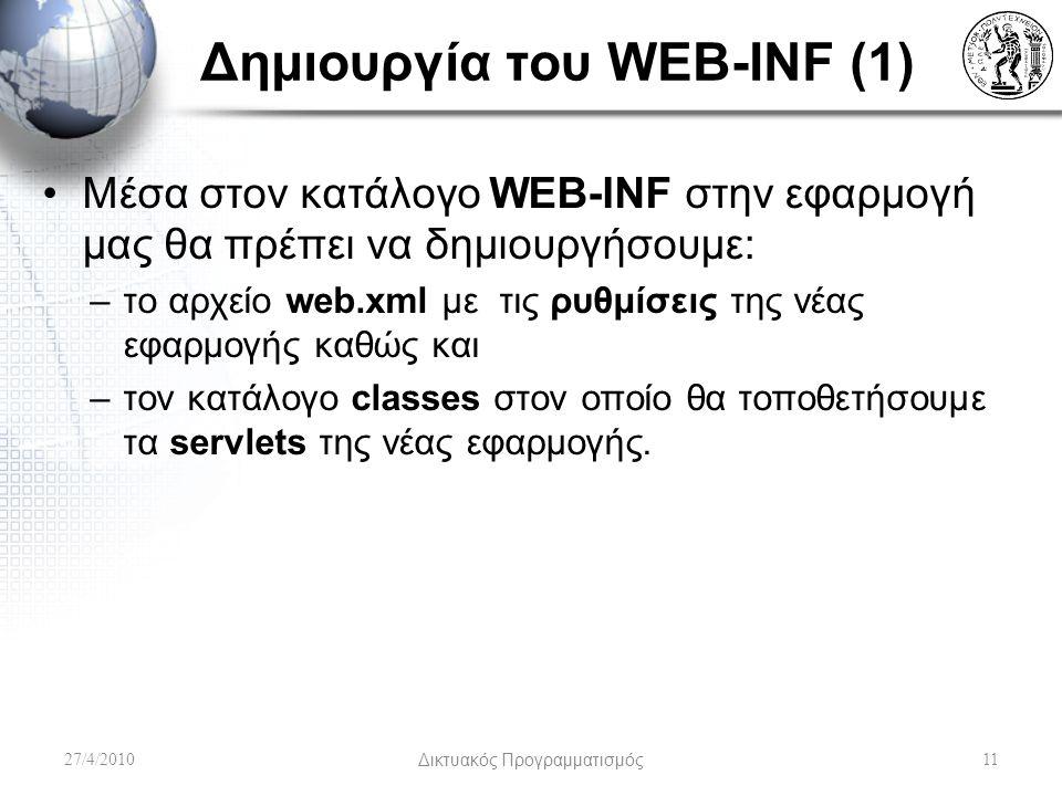 Δημιουργία του WEB-INF (1) Μέσα στον κατάλογο WEB-INF στην εφαρμογή μας θα πρέπει να δημιουργήσουμε: –το αρχείο web.xml με τις ρυθμίσεις της νέας εφαρμογής καθώς και –τον κατάλογο classes στον οποίο θα τοποθετήσουμε τα servlets της νέας εφαρμογής.
