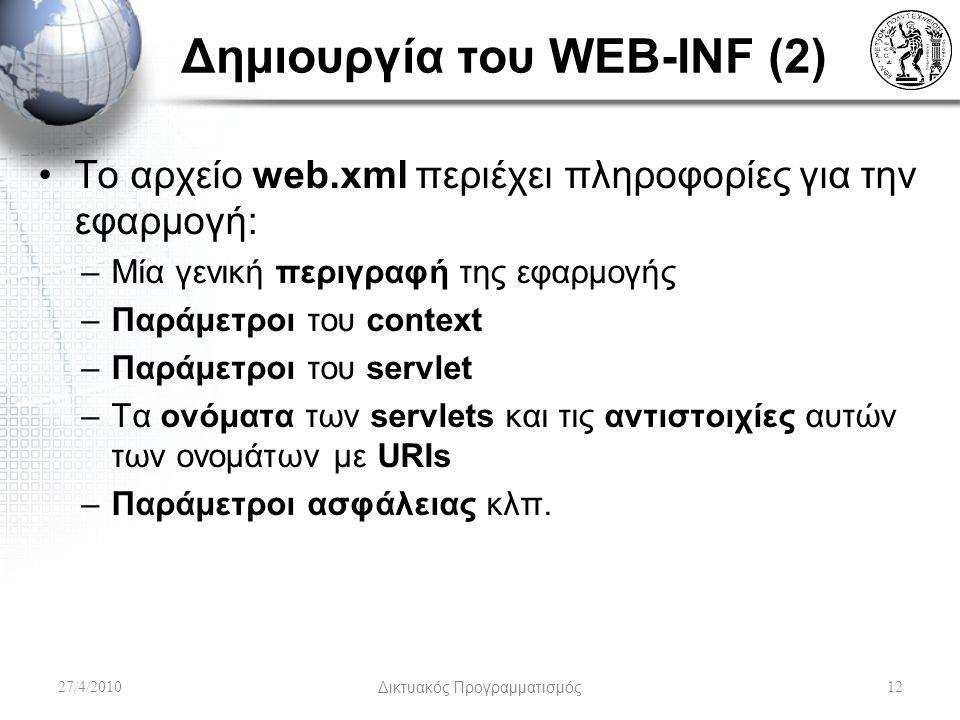 Δημιουργία του WEB-INF (2) Το αρχείο web.xml περιέχει πληροφορίες για την εφαρμογή: –Μία γενική περιγραφή της εφαρμογής –Παράμετροι του context –Παράμετροι του servlet –Τα ονόματα των servlets και τις αντιστοιχίες αυτών των ονομάτων με URIs –Παράμετροι ασφάλειας κλπ.