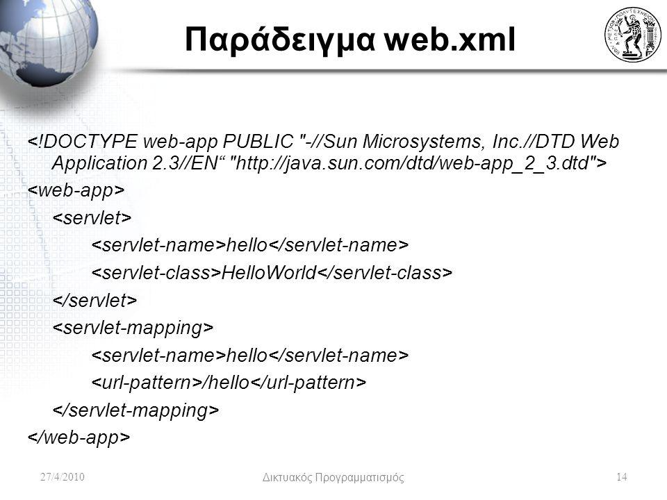 Παράδειγμα web.xml hello HelloWorld hello /hello 27/4/2010Δικτυακός Προγραμματισμός14