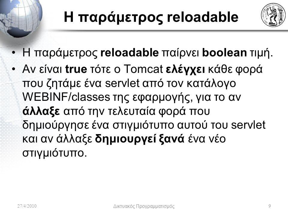 Η παράμετρος reloadable Η παράμετρος reloadable παίρνει boolean τιμή.