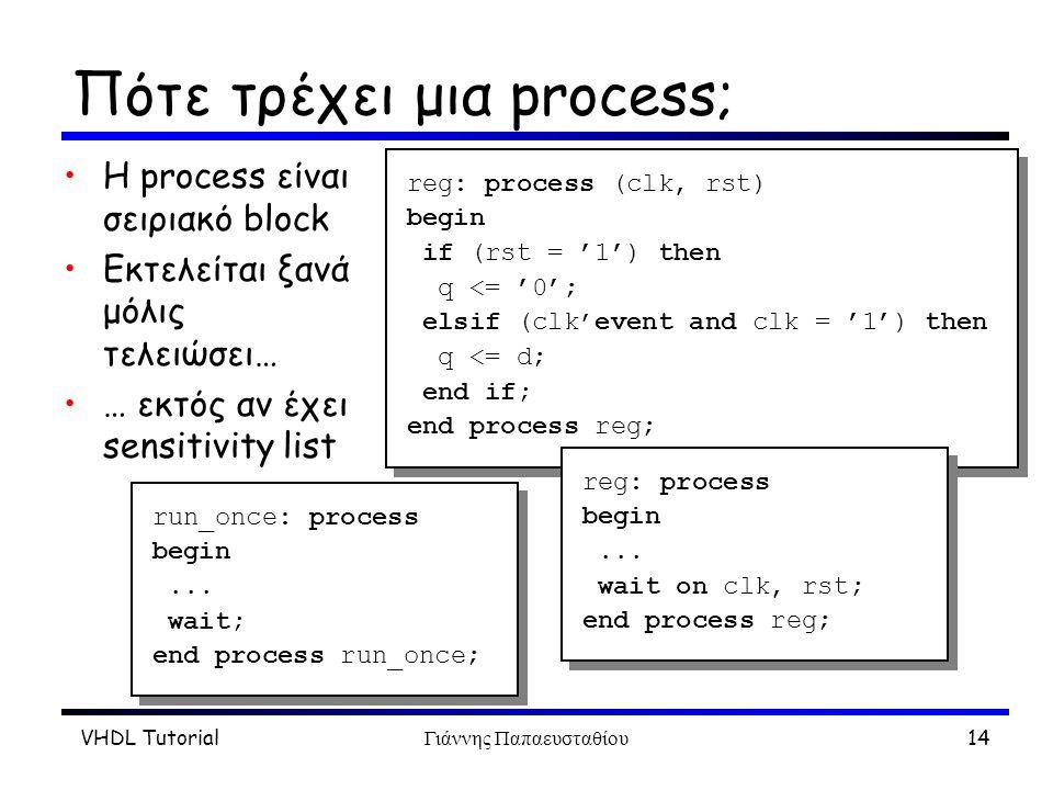 VHDL TutorialΓιάννης Παπαευσταθίου14 Πότε τρέχει μια process; H process είναι σειριακό block Eκτελείται ξανά μόλις τελειώσει… … εκτός αν έχει sensitivity list reg: process (clk, rst) begin if (rst = '1') then q <= '0'; elsif (clk'event and clk = '1') then q <= d; end if; end process reg; reg: process (clk, rst) begin if (rst = '1') then q <= '0'; elsif (clk'event and clk = '1') then q <= d; end if; end process reg; run_once: process begin...