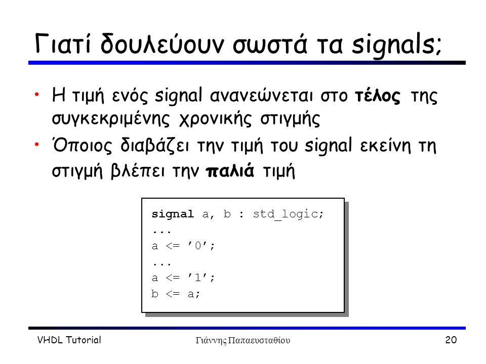 VHDL TutorialΓιάννης Παπαευσταθίου20 Γιατί δουλεύουν σωστά τα signals; Η τιμή ενός signal ανανεώνεται στο τέλος της συγκεκριμένης χρονικής στιγμής Όπο