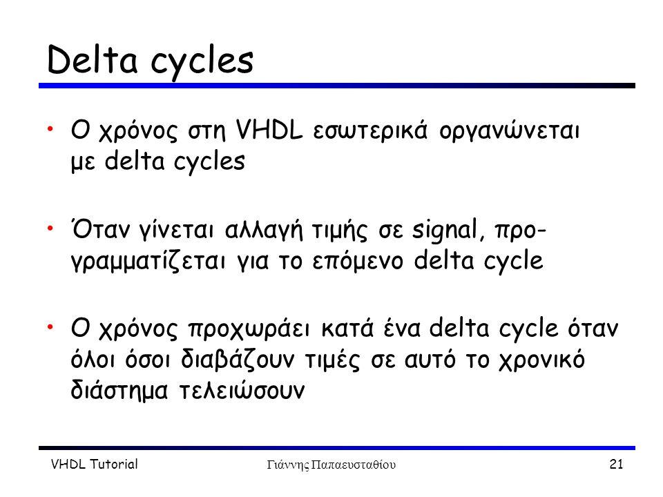 VHDL TutorialΓιάννης Παπαευσταθίου21 Delta cycles Ο χρόνος στη VHDL εσωτερικά οργανώνεται με delta cycles Όταν γίνεται αλλαγή τιμής σε signal, προ- γραμματίζεται για το επόμενο delta cycle O χρόνος προχωράει κατά ένα delta cycle όταν όλοι όσοι διαβάζουν τιμές σε αυτό το χρονικό διάστημα τελειώσουν