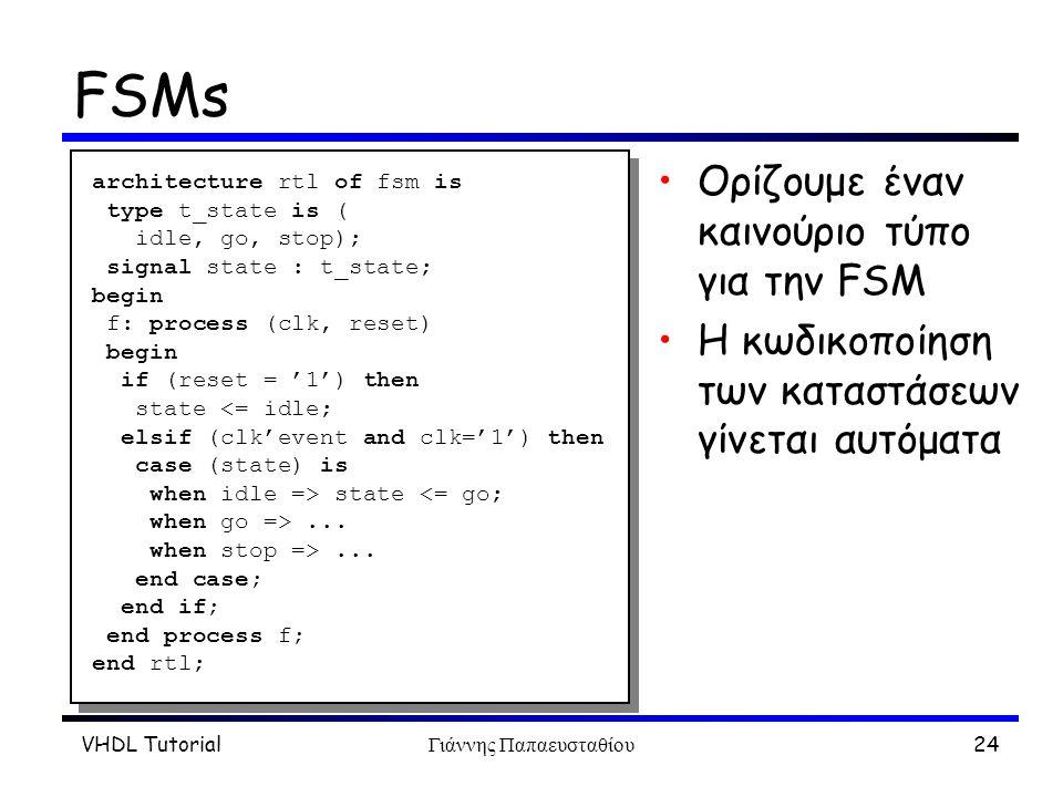 VHDL TutorialΓιάννης Παπαευσταθίου24 FSMs Oρίζουμε έναν καινούριο τύπο για την FSM H κωδικοποίηση των καταστάσεων γίνεται αυτόματα architecture rtl of