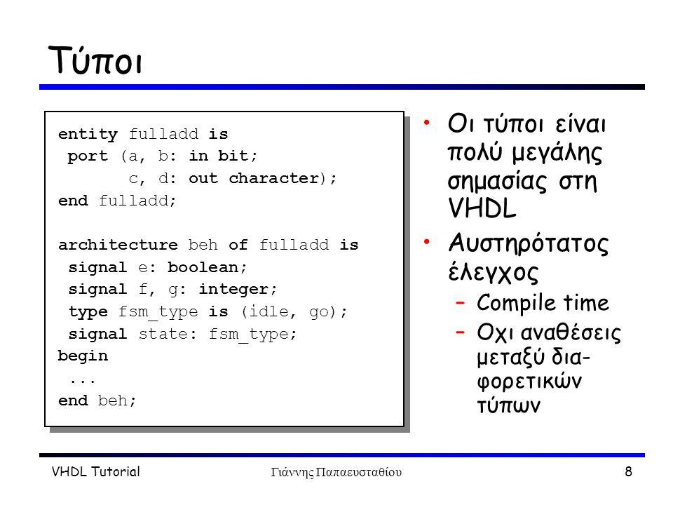 VHDL TutorialΓιάννης Παπαευσταθίου8 Τύποι Οι τύποι είναι πολύ μεγάλης σημασίας στη VHDL Αυστηρότατος έλεγχος –Compile time –Οχι αναθέσεις μεταξύ δια-