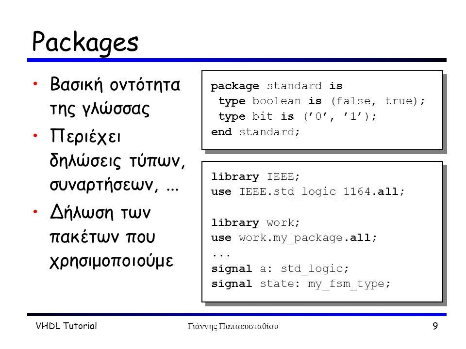 VHDL TutorialΓιάννης Παπαευσταθίου10 Buses Eιδικοί τύποι στη VHDL Χρήση των to και downto για εύρος Παρενθέσεις Kαλό είναι να ακολουθούνται οι συμβάσεις –msb το αριστερότερο bit –μεγαλύτερο το αριστερότερο bit signal data: bit_vector (7 downto 0); port ( address: in std_logic_vector (31 downto 0) ); signal data: bit_vector (7 downto 0); port ( address: in std_logic_vector (31 downto 0) );