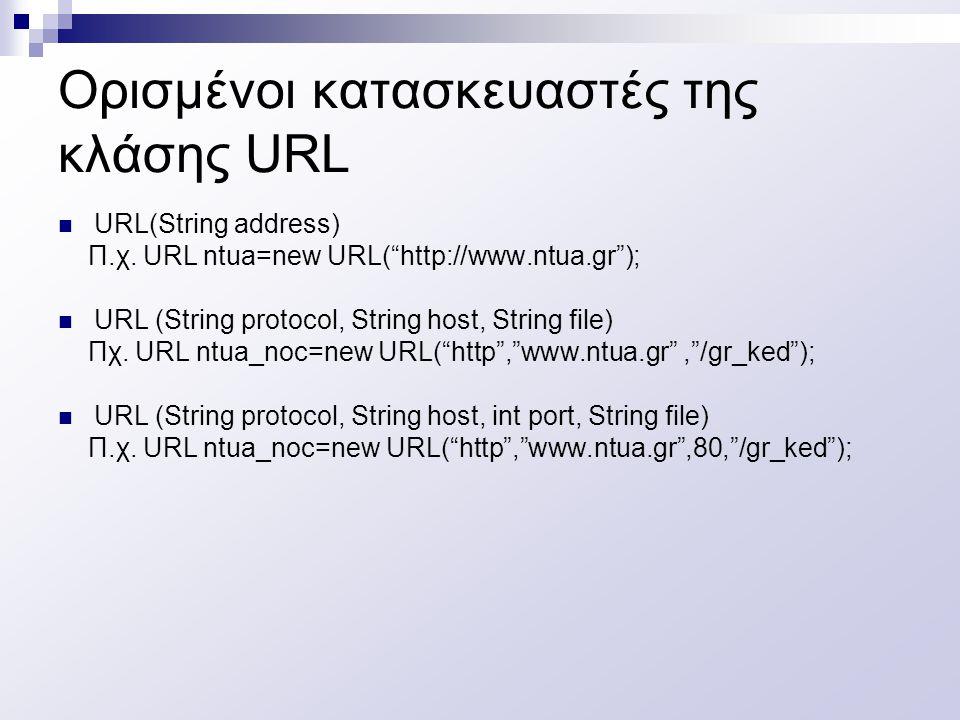 Ορισμένοι κατασκευαστές της κλάσης URL URL(String address) Π.χ.