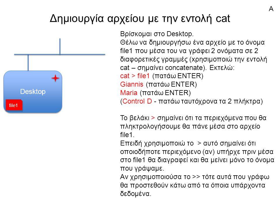 Δημιουργία αρχείου με την εντολή cat Desktop Βρίσκομαι στο Desktop.