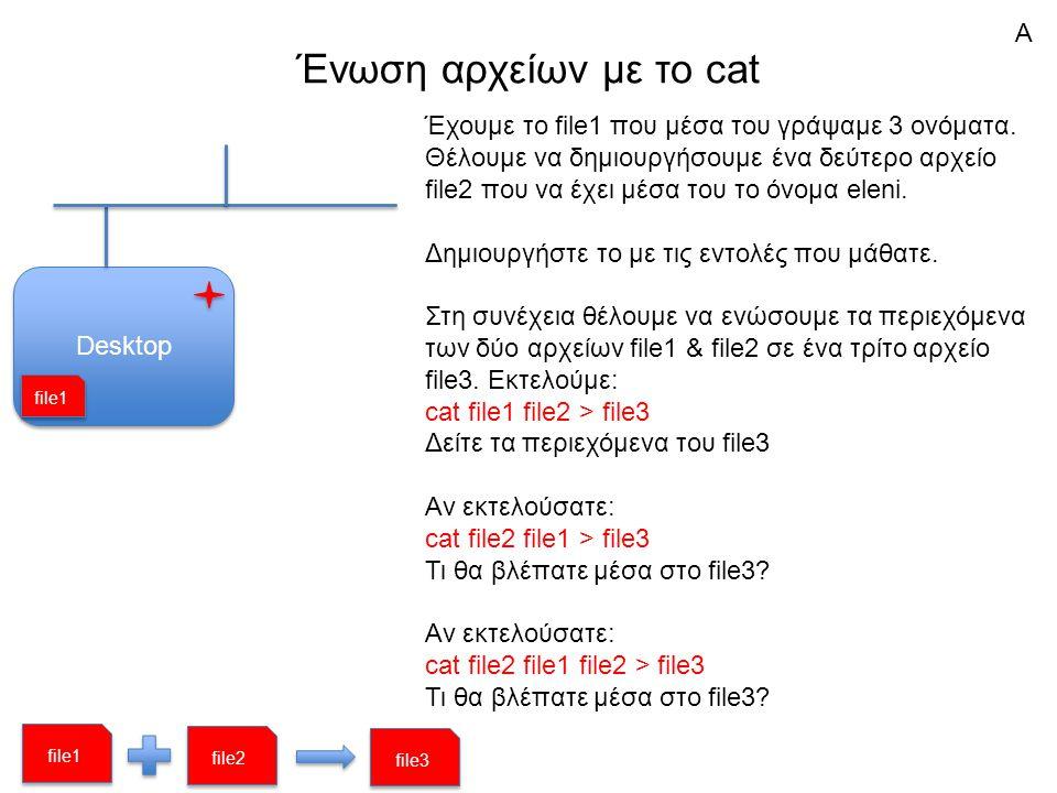 Ένωση αρχείων με το cat Desktop Έχουμε το file1 που μέσα του γράψαμε 3 ονόματα.