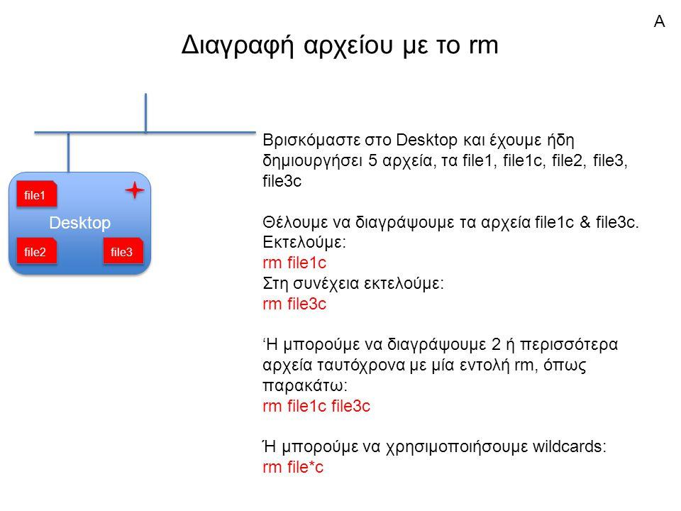 Διαγραφή αρχείου με το rm Desktop Βρισκόμαστε στο Desktop και έχουμε ήδη δημιουργήσει 5 αρχεία, τα file1, file1c, file2, file3, file3c Θέλουμε να διαγράψουμε τα αρχεία file1c & file3c.