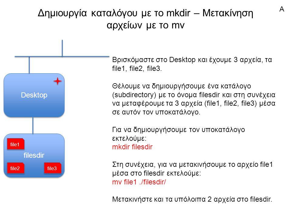 filesdir Δημιουργία καταλόγου με το mkdir – Μετακίνηση αρχείων με το mv Desktop Βρισκόμαστε στο Desktop και έχουμε 3 αρχεία, τα file1, file2, file3.