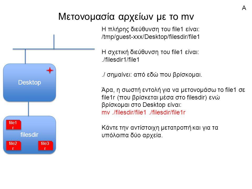 filesdir Μετονομασία αρχείων με το mv Desktop Η πλήρης διεύθυνση του file1 είναι: /tmp/guest-xxx/Desktop/filesdir/file1 Η σχετική διεύθυνση του file1 είναι:./filesdir1/file1./ σημαίνει: από εδώ που βρίσκομαι.